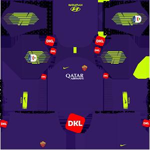 AS Roma Dls/Dream League Soccer Kits and Logo GK Home - 2018-2019 Dream League Soccer