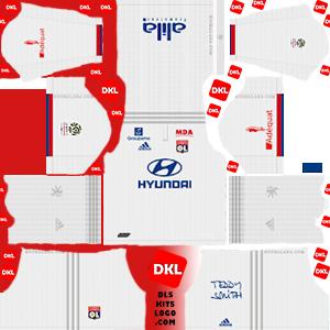 olympique-lyonnais-2019-2020 DLS Kits home- Dream League Soccer